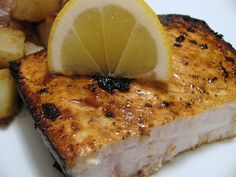 Pan-Roasted Swordfish Steaks with Mixed-Peppercorn Butter | レシピ ...