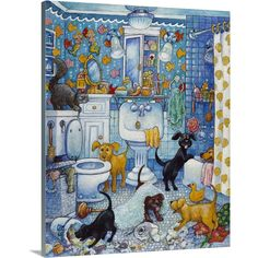 Premium Thick-Wrap Canvas entitled More Bathroom Pups. A group of dogs (puppies) in the bathroom. Our proprietary canvas provides a classic and distinctive texture. It is acid free and specially developed for our giclee print platforms. Each print is Canvas Wall Art, Wall Art Prints, Poster Prints, Decoupage, Inspirational Artwork, Detail Art, Find Art, Giclee Print, Pup