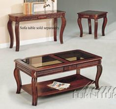 Acme 06152 Cherry 3pc C E Pk Table Set W Gl Top By Coffee And End