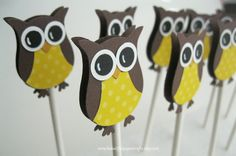 Brown & Yellow Owl Cupcake Toppers