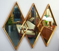 Grand Gold Leaf Triple Diamond Mirror by La Barge, I own this one and it is available for purchase.