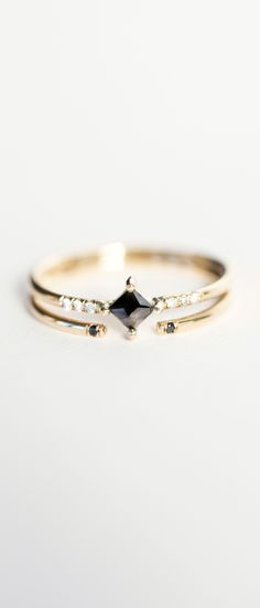 Jennie Kwon Designs Diamond Equilibrium Point Ring & Black Diamond 2 Cuff Ring