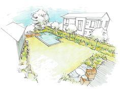 Gartenplanung Gartenvisualisierung Entwurf für einen Naturpool Perspektive / Gardenplanning Draft Layout Drawing Natural pool Swimming pond Salamander Naturgarten