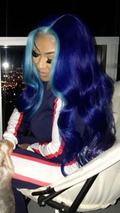 Blue Wigs Lace Hair Lace Frontal Wigs Mommy Wig Temporary Blue Hair Co – eggplantral Baddie Hairstyles, Pretty Hairstyles, Black Hairstyles, Braided Hairstyles, Blue Lace Front Wig, Human Lace Front Wigs, Brazilian Lace Front Wigs, Brazilian Hair, Curly Hair Styles