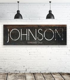Looking for a rustic but modern name sign? Our large canvas signs are the perfect fit for your needs and can fit into any farmhouse or modern home design. We know you look everywhere for that farmho Farmhouse Wall Art, Modern Farmhouse, Farmhouse Style, Farmhouse Decor, Industrial Farmhouse, Farmhouse Signs, French Farmhouse, Farmhouse Ideas, Modern Rustic