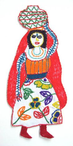 Vattenbärerska - one of several embroideries at the site