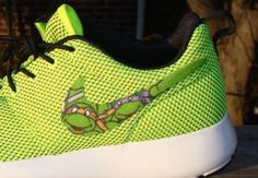 Custom Nike Roshe Run- Ninja Turtle Cartoon LIME Green Yellow Nike Roshe Runs - Women/ Boys