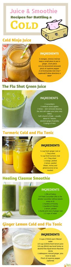 Here are some of the best Juice Recipes for Battling a Cold. Get even more via juicing 101 Full Body Cleanse Detox, Smoothie Cleanse, Juice Smoothie, Juice Cleanse, Healthy Juice Recipes, Healthy Juices, Smoothie Recipes, Juicer Recipes, Healthy Smoothies