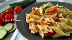 Pennette al salmone con zucchine e pomodorini