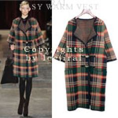 Leather Closure Checkered Coat