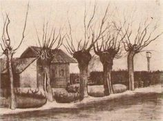 Vincent van Gogh: Small House on a Road with Pollard Willows Etten: October, 1881 (Otterlo, Kröller-Müller Museum) Van Gogh Drawings, Van Gogh Paintings, Ink Drawings, Rembrandt, Toulouse, Van Gogh Landscapes, Artist Van Gogh, Vincent Willem Van Gogh, Pointillism