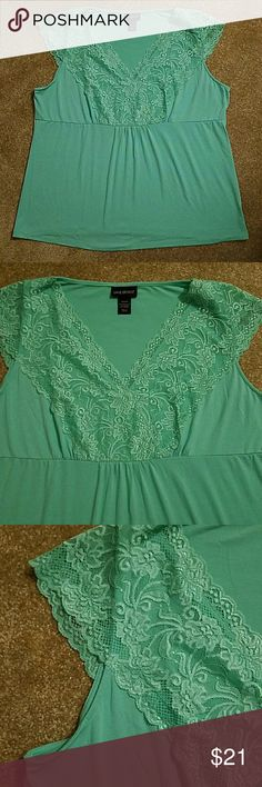 Aqua Lane Bryant blouse with lace size 22/24 Excellent used condition.  Looks brand new. Pretty aqua color. Measure approximately 24 inches from armpit to armpit Lane Bryant Tops Blouses