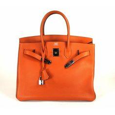 Hermes Custom Made Orange H Togo Leather 35cm Birkin Bag with Contrast Gold Piping & Interior with Palladium Hardware