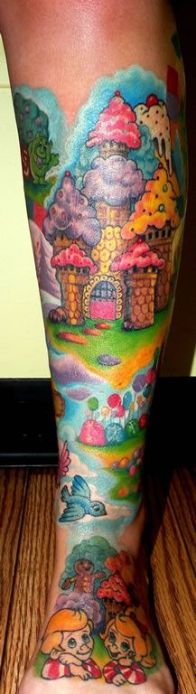 Candy Land tattoo tattoos ink inked leg sleeve... I would never get something like this bit it's pretty crazy