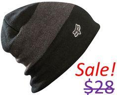 Fox Racing Men Black Fleece Liner Snowboard Ski Snow Winter Skull Beanie Hat Cap