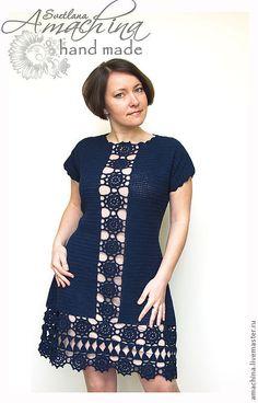 """Купить """"Элегантная симметрия"""" - тёмно-синий, орнамент, платье вязаное, платье крючком, платье футляр"""
