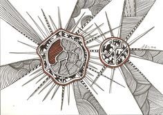 """bold spiky stars"", #indiaink (#PITT #artist #pen Faber-Castell ) on #Hahnemuehle #paper ""Nostalgie"", 21 x 30 cm, ©matthias hennig 2014, www.matthias-hennig.de"