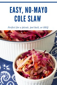 Perfect for a picnic, pot luck, or BBQ. this cole slaw is infinitely variable. It tastes even better the next day, making it a perfect make ahead side dish. Make enough to take along to your party and some to leave home - because you'll want to eat this all week long! Homemade Coleslaw, Cole Slaw, Pot Luck, Large Bowl, Food Hacks, Side Dishes, Picnic, Bbq, Tasty