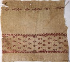 Egypt Fragment, 13th/14th century Linen, plain weave; embroidered with silk floss in back and running (pattern darning) stitches 9.7 x 10.2 cm (3 7/8 x 4 in.)