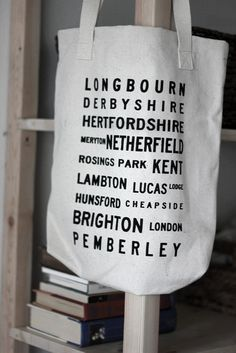 The Pride and Prejudice typography tote ($18) highlights all the locations found in the novel.