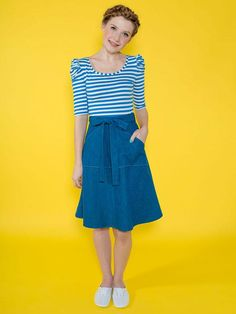 Miette wraparound skirt pattern by Tilly and the Buttons – great for beginners!