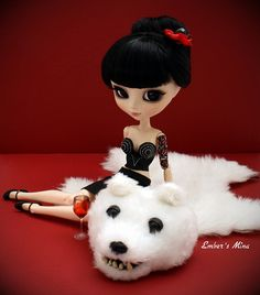 Gothic Pinup Pullip on a teddy bearskin rug!