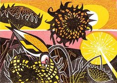 Helius linocut by Clare Curtis - Art Greeting Card Art And Illustration, Illustrations, Liverpool Museum, Linocut Prints, Art Prints, Wood Engraving, Gravure, Flower Art, Flower Prints