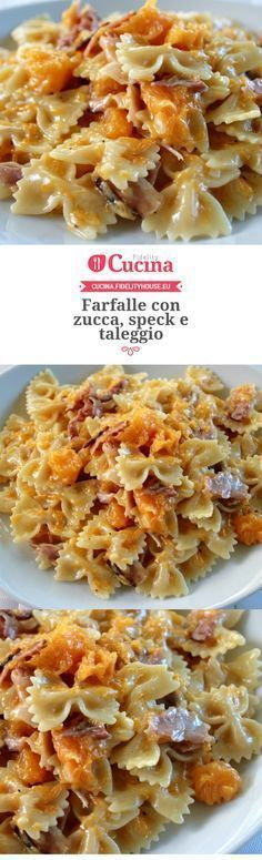 Farfalle con zucca, speck e taleggio – Rezepte I Love Food, Good Food, Yummy Food, Pasta Recipes, Cooking Recipes, Ravioli, Pasta Dishes, Cooking Time, I Foods