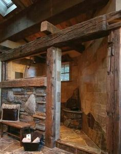 Love the stone and beams