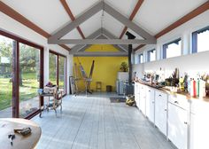 The Long Artists' Studio by Threefold Architects, south floor to ceiling,north clerstory, exposed beams
