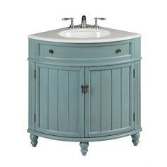 Seven Common Myths About Vintage Bathroom Vanity Sink Cabinets - Vintage Light Blue Cottage Style Thomasville Bathroom sink vanity Model # Corner Bathroom Vanity, Boho Bathroom, Vanity Sink, Bath Vanities, Bathroom Faucets, Bathroom Ideas, Modern Bathroom, Bathroom Designs, Bathroom Remodeling