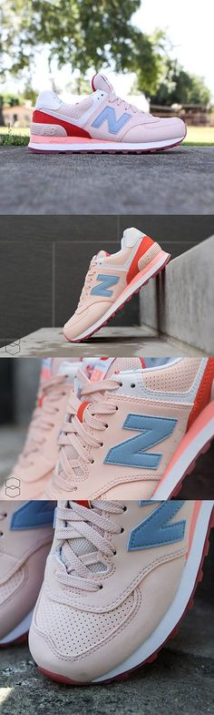 Athletic 95672: Women S New Balance 574 Sneakers Running Casual Shoes Pink Wl574bwb Size 5.5-8.5 -> BUY IT NOW ONLY: $44 on eBay!