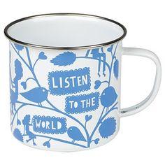 Rob Ryan Listen To The World Enamel Mug by Wild & Wolf