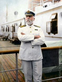 Captain of the RMS Titanic. Colorized by Anton Logvinenko. Rms Titanic, Titanic Sinking, Titanic History, Titanic Ship, Titanic Photos, Titanic Movie, Ancient History, Belfast, Carlisle