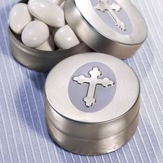 50 - Silver Cross Design Mint Tin - Wedding Favors - Free Shipping