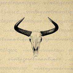 Western Horns Graphic Digital Printable Cow by VintageRetroAntique
