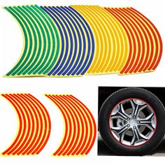 "16 Strips Bike Car Motorcycle Wheel Tire Reflective Rim Stickers And Decals Decoration Stickers 18"" 4 Color Car Styling New♦️ SMS - F A S H I O N  http://www.sms.hr/products/16-strips-bike-car-motorcycle-wheel-tire-reflective-rim-stickers-and-decals-decoration-stickers-18-4-color-car-styling-new/ US $0.99"