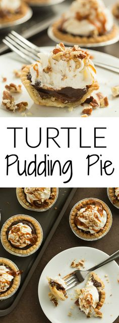 Mini Turtle Pudding Pies are the perfect bite-sized treat (made in tart shells!) for the holidays or any party — they come together quickly and are loaded with pecans, caramel, chocolate pudding and topped with whipped cream!