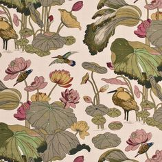 Enchanting print biscuit/taupe fabric by G P