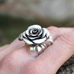 Flower ring sterling silver rose rose handcarved by jewelsculpts