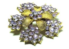 Vintage Rhinestone Brooch Pin Lilac Purple Flower Vintage Jewelry