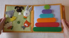 """Quiet Book """"Funny Sheep""""Hi everyone! Here is a book spread of my recent Quiet Book """"Funny Sheep"""". The left-hand page is an """"Animal Farm"""", the right-hand is a """"Colorful Pyramid"""" page.Custom Hand-Crafted Quiet Book Page- Diy Busy Books, Diy Quiet Books, Baby Quiet Book, Felt Quiet Books, Quiet Book Templates, Quiet Book Patterns, Toddler Crafts, Preschool Crafts, Quiet Book Tutorial"""