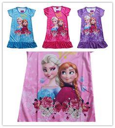 DHL Free Shipping 40pcs/lot Snow Queen Elsa Anna Girl Summer Cartoon Dress Fantasy Rose Flower Pajamas Nightgown Sleepwear Dress