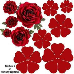 Hard Copy Template of 6 sizes Tiny Rose 6 availabl - Paper Flowers Ideas Paper Flower Patterns, Paper Flowers Craft, Large Paper Flowers, Paper Flower Wall, Paper Flower Tutorial, Flower Wall Decor, Felt Flowers, Flower Crafts, Diy Flowers