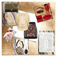 """Shiny Skirt Ready To Flirt"" by girlie87 ❤ liked on Polyvore featuring Balmain, Luli Fama, Christian Louboutin, Michael Kors, Monica Rich Kosann, Thalia Sodi and Vintage"