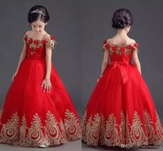 c1012bc016 Red Tulle Ball Gown Flower Girls Dress Princess Kids Party Dresses Off  Shoulder Gold Appliques Teens