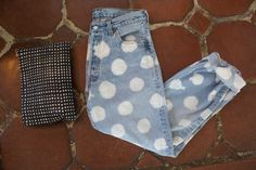 DIY bleach dot jeans