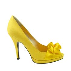 Potential wedding shoes? $89.95  Nina Evelixa in Canary. Like the idea of a pop of color under all the white... Especially yellow (: