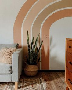 Ive been on the hunt for a headboard for the last few months and I keep seeing this circle painted headboard trend all over the place. What do you think are we into it Instead of shelling out the cash for a new headboard should I paint my own headboard Rainbow Room, Rainbow Wall, Rainbow Colors, Painted Headboard, Passion Deco, Bohemian Living, Boho, Bohemian Style, Bohemian Bedrooms