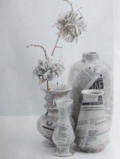 Vaasjes bekleden met krantenpapier
